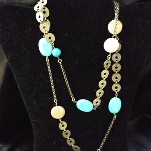 Lia Sophia Turquoise and Brown Stones Necklace